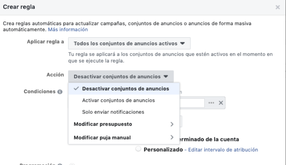 Para anuncios de Facebook con ROAS negativo