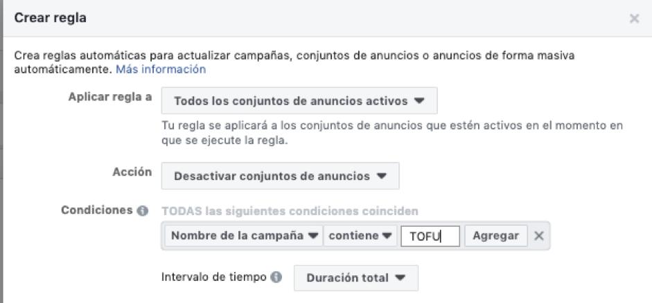 Campañas TOFU Facebook